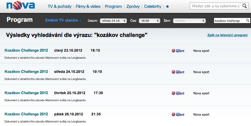 Kozákov Challenge 2012 documentary @ Nova Sport